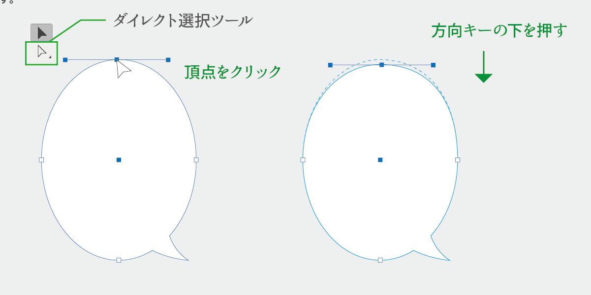 ダイレクト選択ツールでアンカーポイントの位置を調整する説明画像