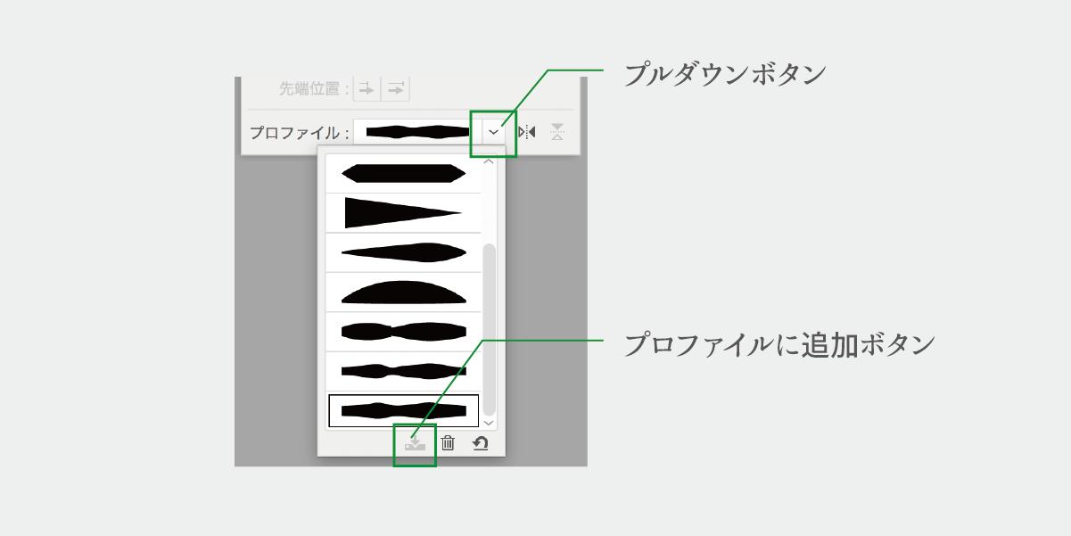 作成した線幅を線幅プロファイルに追加するボタンの説明画像