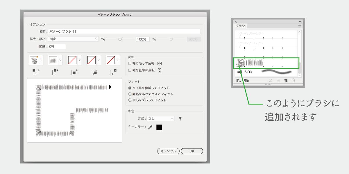 パターンブラシオプションの設定と追加したブラシの説明図