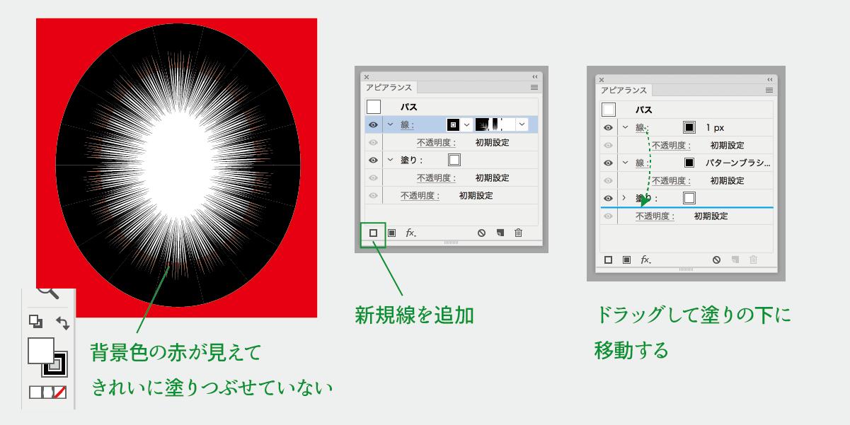 ベタフラッシュのうしろの塗りつぶし方 アピアランスの重なりの調整説明図
